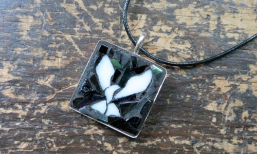 Black and White Mosaic Dove Pendant by Nutmeg Designs