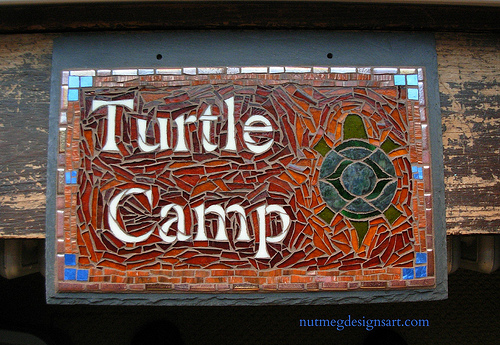 Turtle Camp Mosaic Sign by Nutmeg Designs