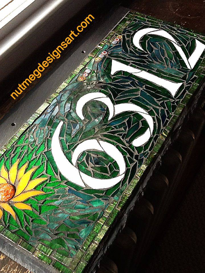 Wordless wednesday mosaic house number in green with the for House number designs