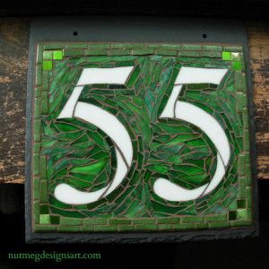 Custom House Number on Slate by Nutmeg Designs: Square 2 Digits