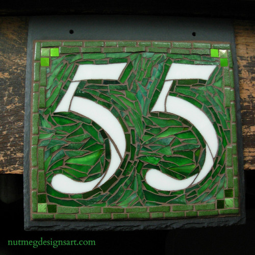 Mosaic House Number in Greens by Nutmeg Designs.