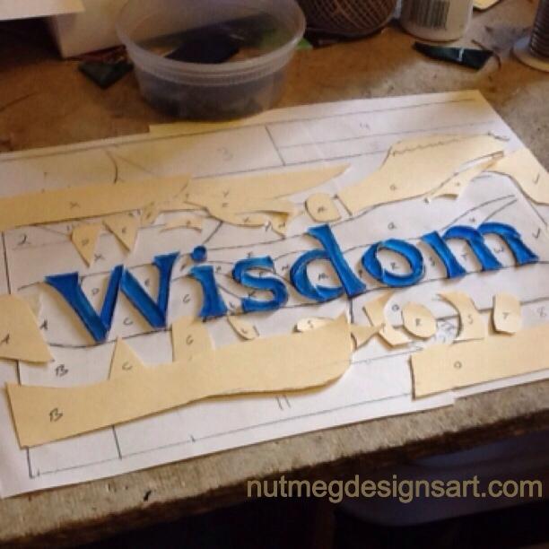 Wisdom Stained Glass Panel in Process by Wayne Stratz