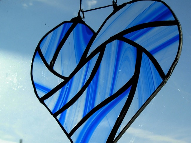 Blue Stained Glass Heart by Wayne Stratz