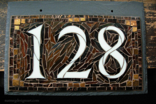 Custom Mosaic House Number on Slate in Copper and Brown by Nutmeg Designs.