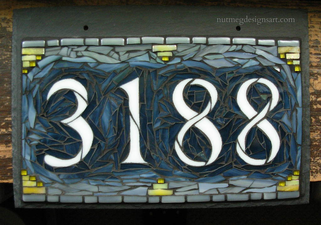 Wordless wednesday mosaic house number in dark blue gray for House number designs