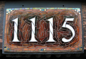 Shading in earthtones.  House Number 1115 in glass mosaic by Nutmeg Designs.
