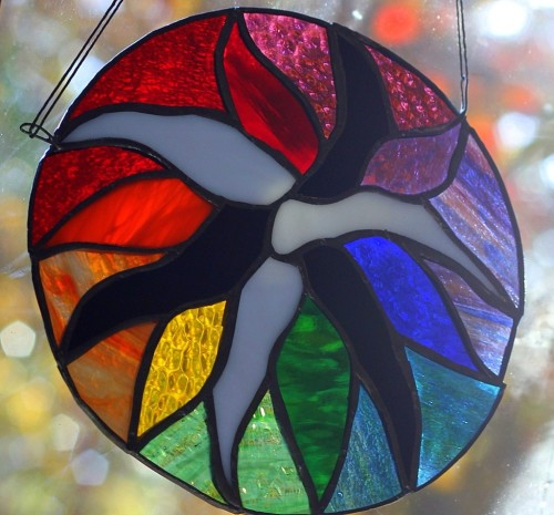 Color Wheel Stained Glass by Wayne Stratz of Nutmeg Designs.