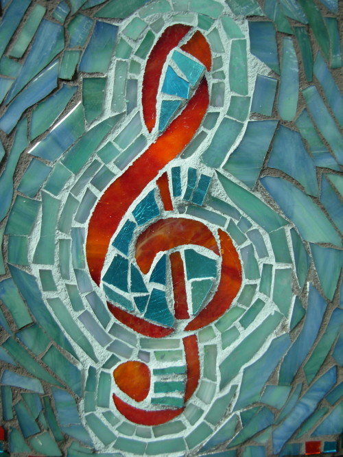 Treble Clef in Red Orange and Aqua by Nutmeg Designs