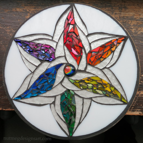 Color Wheel Mandala Mosaic by Nutmeg Designs.