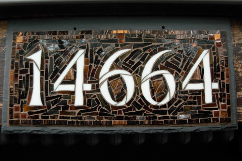 A favorite dark brown and copper Nutmeg Designs House Number