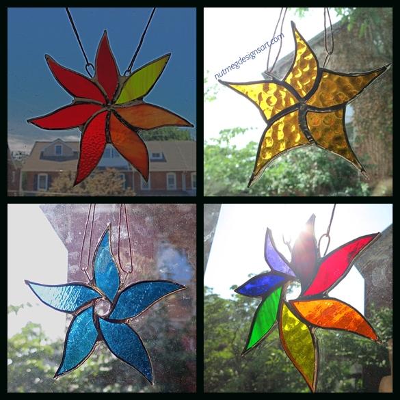 Stained Glass Suncatchers starflowers designed and created by Wayne Stratz