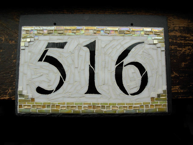 House Number 516 for a California Craftsman Bungalow