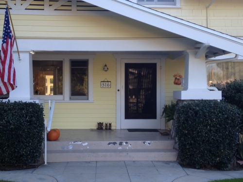 Nutmeg Designs Custom House Number in White and Cream Yellow for a Craftsman Bungalow in California.