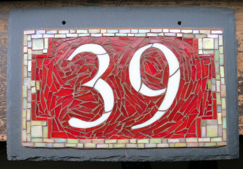 Custom House Number in Red and White for a house in Bucks County, PA.