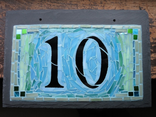 Pale Blue Green House Number by Nutmeg Designs. This one went to Ottawa.