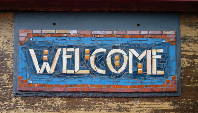 Welcome Sign in Blue and Roycroft Adobe for a Bungalow