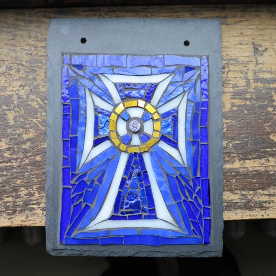 Celtic Cross in Blue, White and Gold by Nutmeg Designs. Glass, millefiori and gold Smalti on slate, 6x8 inches.