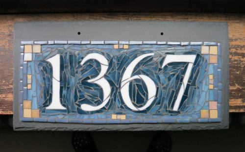 Custom Mosaic House Number 1367 in Denim Blue and Golden Honey by Nutmeg Designs