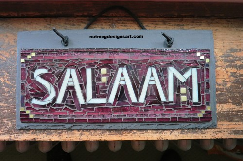 Salaam with Taupe letters by Margaret Almon and Wayne Stratz. July 2015