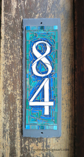 Blue Green Vertical House Number 84 in the Vertical by Nutmeg Designs