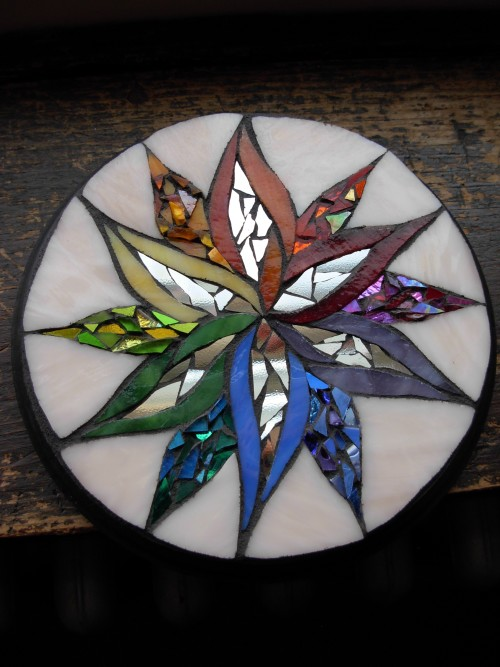Rainbow mandala by Margaret Almon and Wayne Stratz of Nutmeg Designs