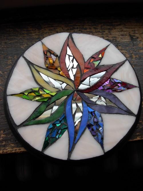Rainbow mandala by Margaret Almon and Wayne Stratz of Nutmeg Designs