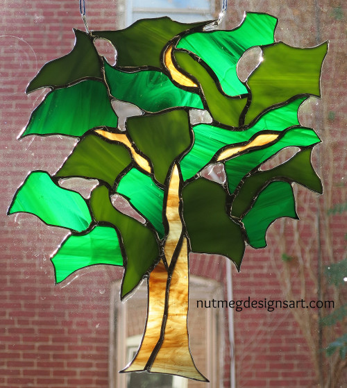 Stained Glass Tree for a Window View