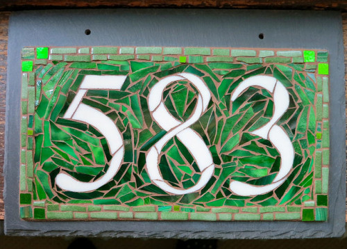 Vibrant Green House Number by Nutmeg Designs. Glass on slate, 12x8 inches.