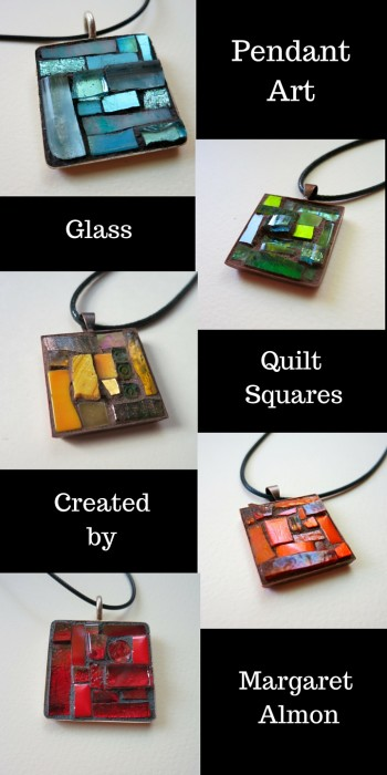 Pendants of tiny glass pieces by Margaret Almon
