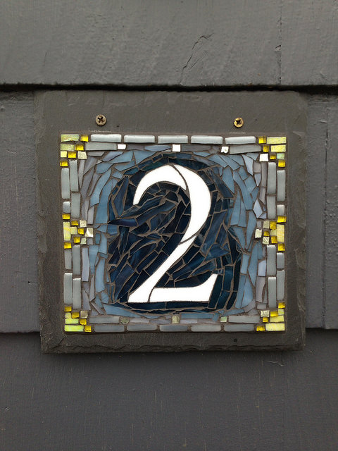 Handsome Single Digit Nutmeg Designs House Number in Blue Gray and Yellow