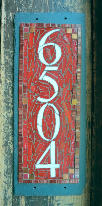 Dark Red Vertical House Number by Nutmeg Designs