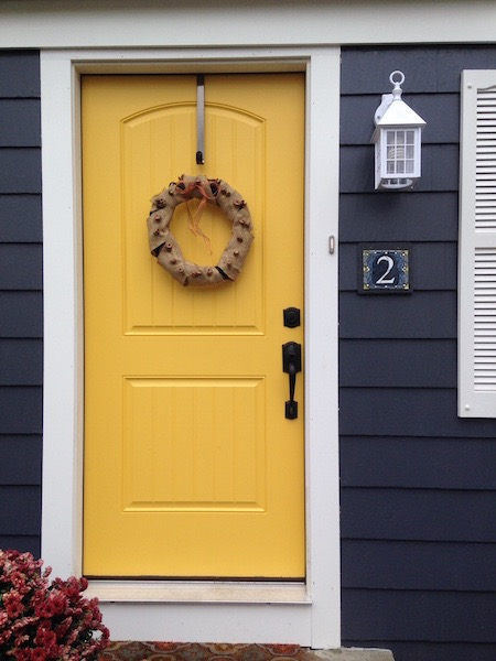 Handsome House Number Plaque in Blue Gray and Yellow