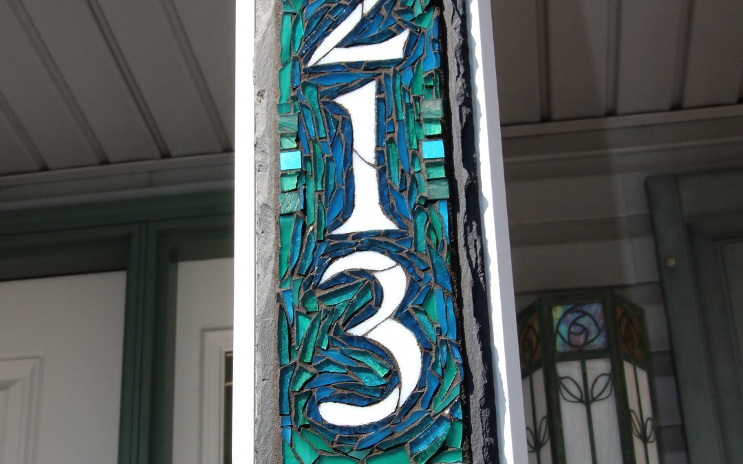 Blue Green Mosaic Vertical House Number Plaque for a Porch Pillar
