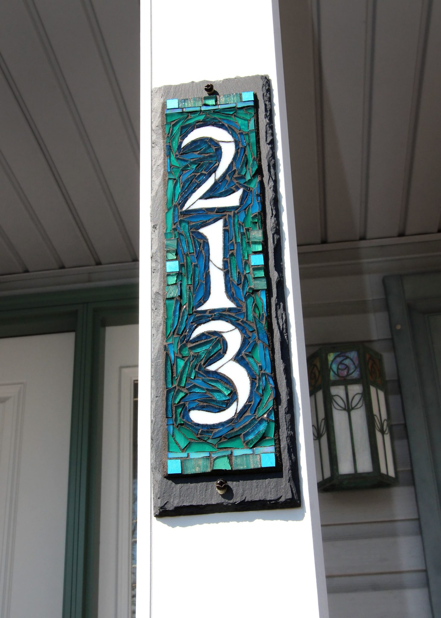 South Seas Colorway Vertical House Number by Nutmeg Designs