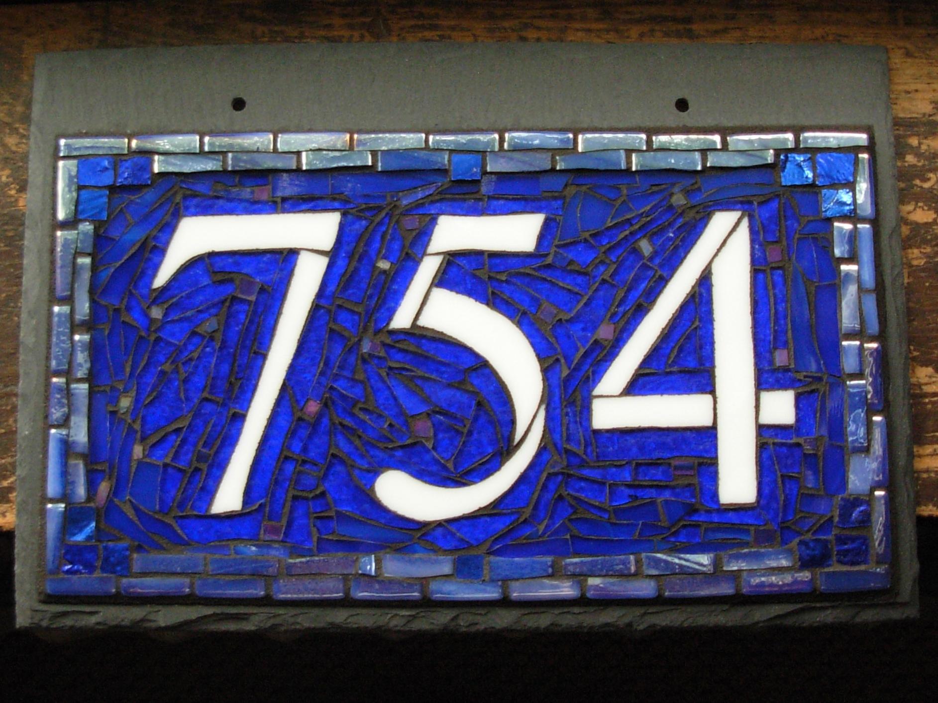 3 Digit Nutmeg Designs House Number in Aegean Colorway