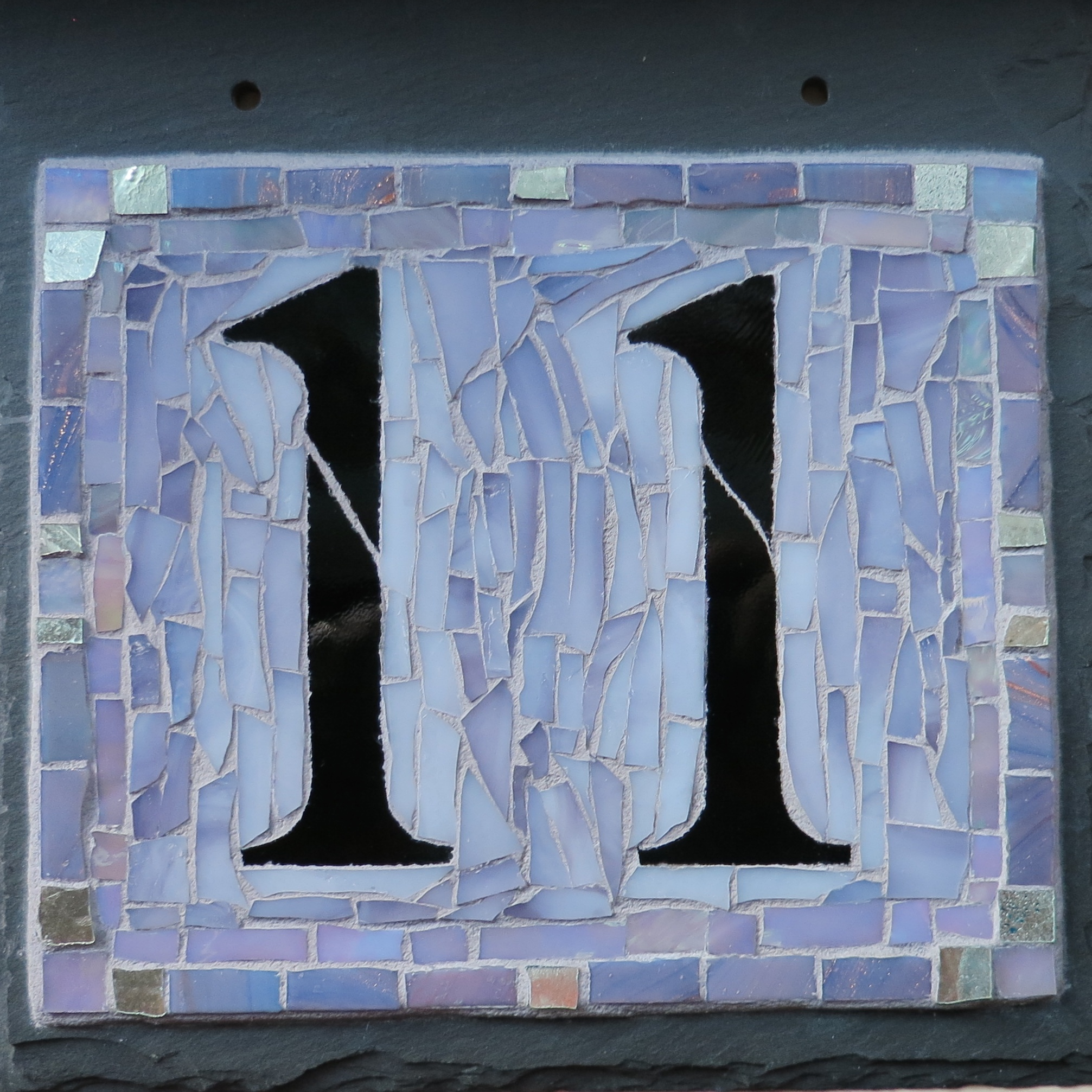 2 Digit Square House Number on Slate in Lavender Gray