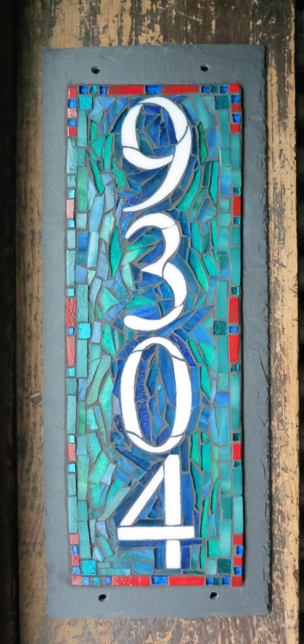 Vertical 4 Digit Mosaic House Number on Slate