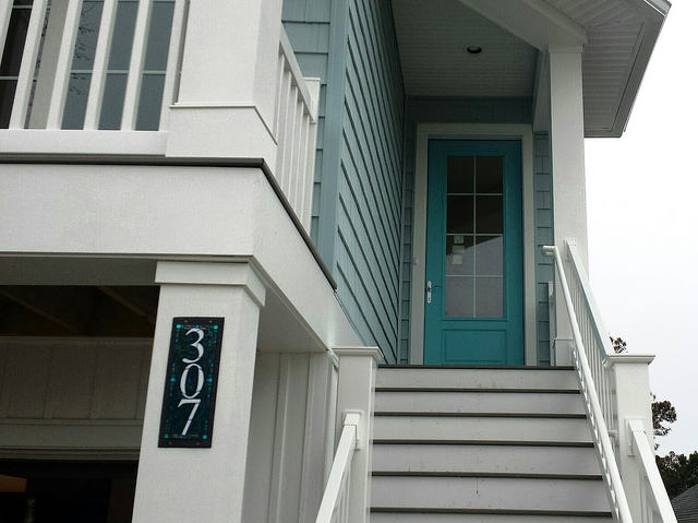 Blue Green House Number for a Beach House by Nutmeg Designs