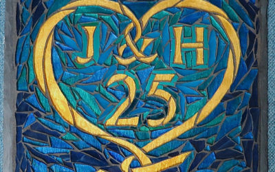 Heart Mosaic for a 25th Wedding Anniversary Gift