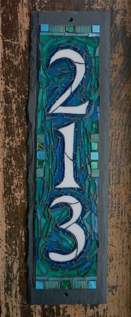3 Digit Vertical House Number on Slate by Nutmeg Designs