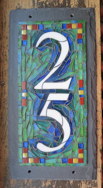 Mosaic House Number 2 Digit Vertical in Blue Green by Nutmeg Designs