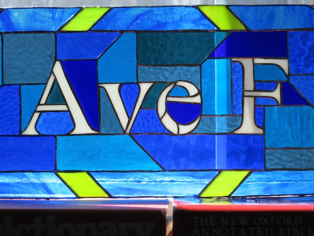 Ave F: Street Name Stained Glass Transom by Nutmeg Designs artist Wayne Stratz
