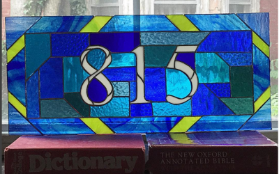 Finally, A Stained Glass Transom With Numbers (and many shades of blue)