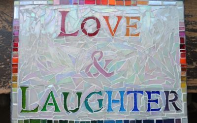 Love & Laughter in Rainbow Lettered Mosaic