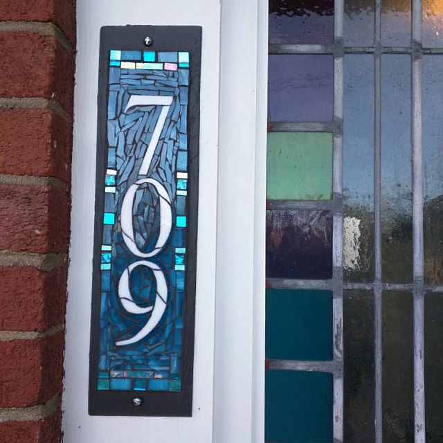 House Number 709 Aqua Mosaic in the Vertical by Nutmeg Designs
