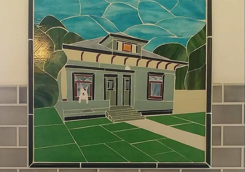 Bernie Leaps In: House Portrait Backsplash for a 1905 Historic Bungalow