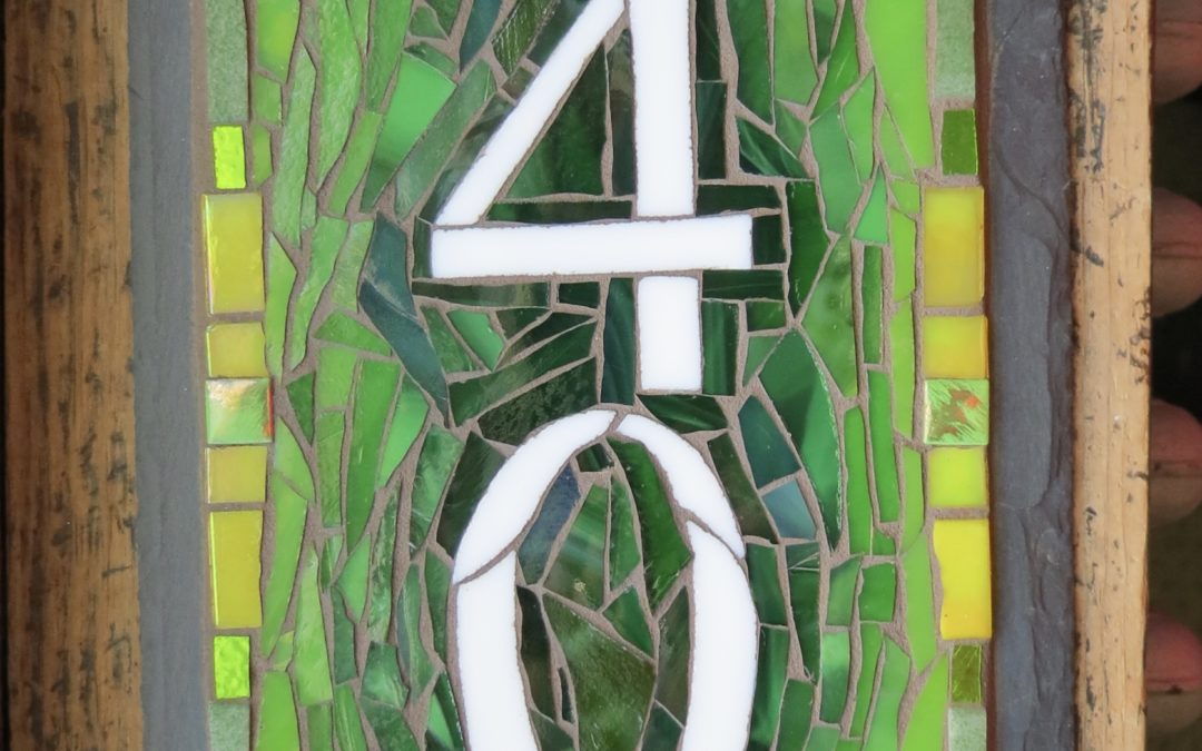 Vertical House Number in Spring Green and Yellow