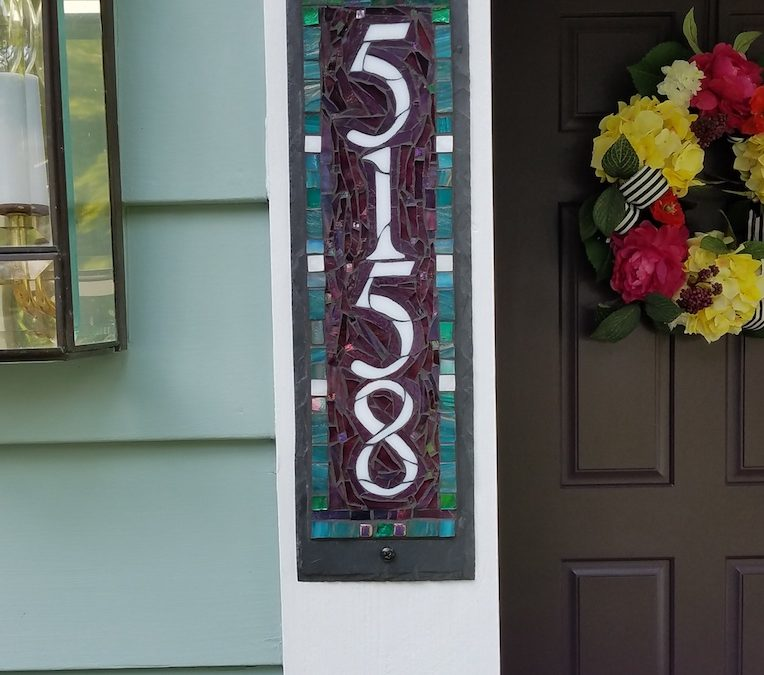 Teal and Purple House Number and a Plum Colored Door