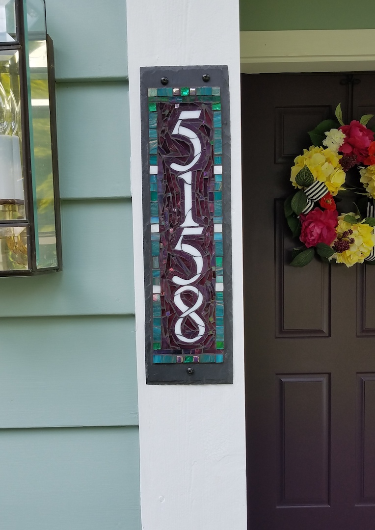 Teal and Purple House Number by Nutmeg Designs
