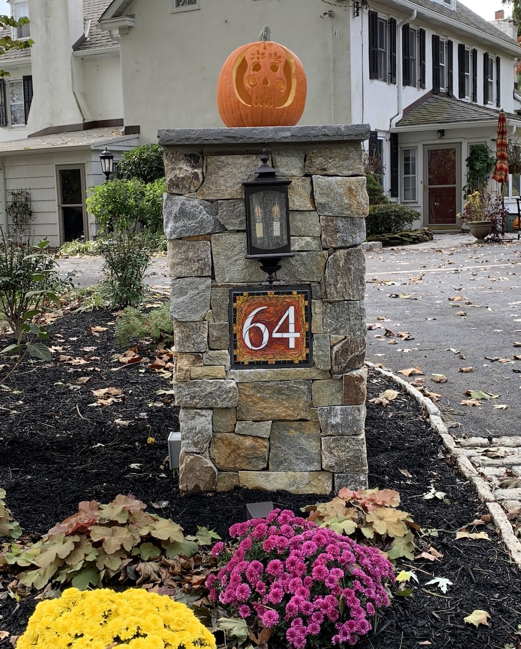 House Number 64 in Orange Ombré Colorway with a Black Border by Nutmeg Designs
